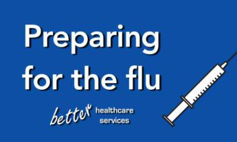 Text on blue background with vector image of syringe-Prepare for flu concept image