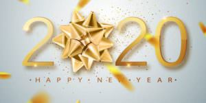 Happy New Year in gold font with gold foil pieces