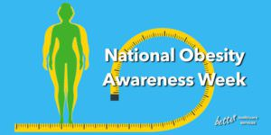 Illustration image of female with yellow measuring tape behind text that reads National Obesity Awareness Week. BHC logo in white in bottom right corner.